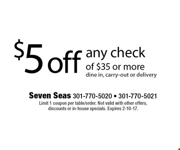 $5 off any check of $35 or more. Dine in, carry-out or delivery. Limit 1 coupon per table/order. Not valid with other offers, discounts or in-house specials. Expires 2-10-17.