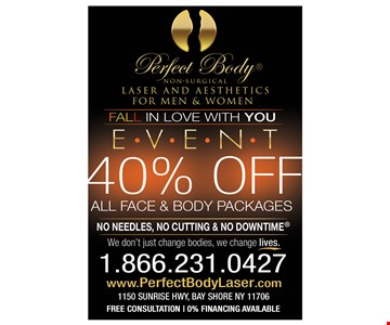 40% off all face and body packages