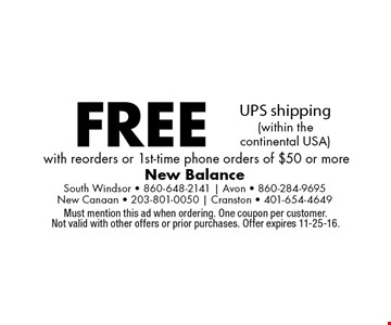 Free UPS shipping (within the continental USA) with reorders or 1st-time phone orders of $50 or more. Must mention this ad when ordering. One coupon per customer. Not valid with other offers or prior purchases. Offer expires 11-25-16.