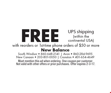 Free UPS shipping (within the continental USA) with reorders or 1st-time phone orders of $50 or more. Must mention this ad when ordering. One coupon per customer. Not valid with other offers or prior purchases. Offer expires 2-3-17.