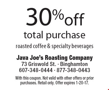 30% off total purchase. With this coupon. Not valid with other offers or prior purchases. Retail only. Offer expires 1-20-17.