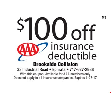 $100 off insurance deductible. With this coupon. Available for AAA members only. Does not apply to all insurance companies. Expires 1-27-17.