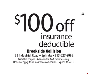 $100 off AAA insurance deductible. With this coupon. Available for AAA members only. Does not apply to all insurance companies. Expires 11-4-16.