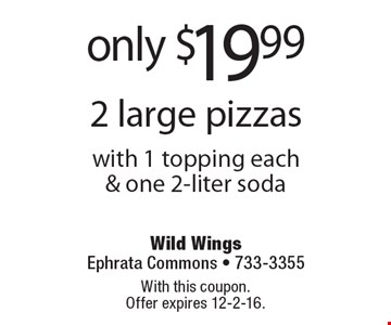 2 large pizzas only $19.99 with 1 topping each & one 2-liter soda. With this coupon. Offer expires 12-2-16.