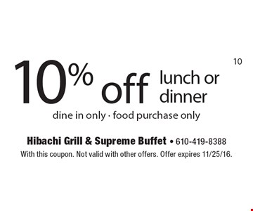 10% off lunch or dinner. Dine in only. Food purchase only. With this coupon. Not valid with other offers. Offer expires 11/25/16.