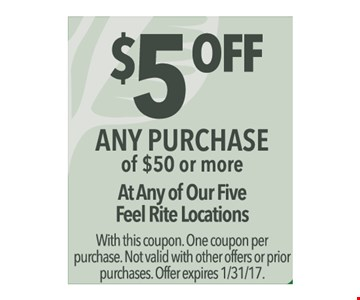 $5 off any $50 purchase.