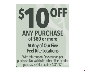 $10 off any $80 purchase.