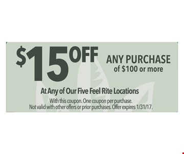 $15 off any $100 purchase.