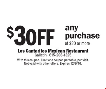 $3 off any purchase of $20 or more. With this coupon. Limit one coupon per table, per visit. Not valid with other offers. Expires 12/9/16.