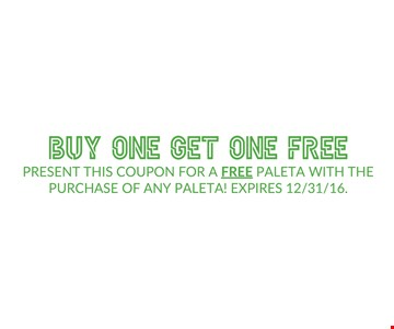 Buy one get one free Paleta