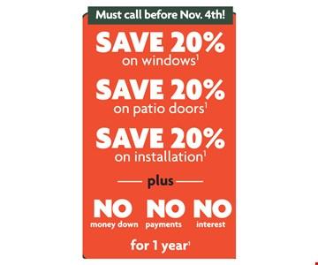 Save 20% on windows, patio doors, installation