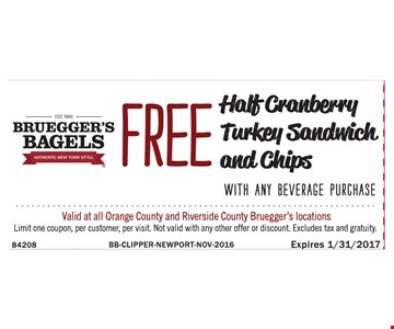Free half cranberry turkey sandwich and chips
