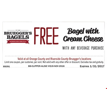 Free bagel with purchase.