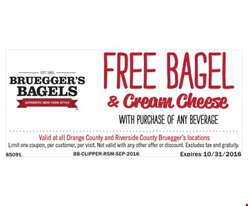 Free Bagel & Cream Cheese with purchase of any beverage