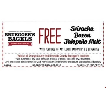 Free sriracha bacon jalapeno melt