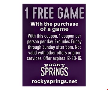 1 FREE GAME with purchase of a game
