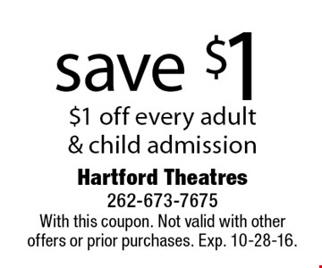 Save $1! $1 off every adult & child admission. With this coupon. Not valid with other offers or prior purchases. Exp. 10-28-16.