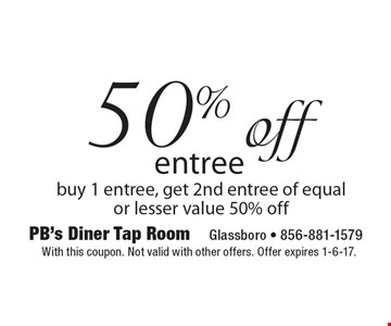 50% off entree. Buy 1 entree, get 2nd entree of equal or lesser value 50% off. With this coupon. Not valid with other offers. Offer expires 1-6-17.