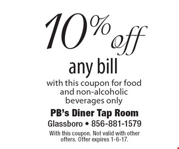 10% off any bill with this coupon. For food and non-alcoholic beverages only. With this coupon. Not valid with other offers. Offer expires 1-6-17.