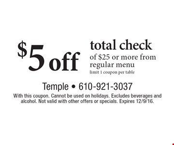 $5 off total check of $25 or more from regular menu. limit 1 coupon per table. With this coupon. Cannot be used on holidays. Excludes beverages and alcohol. Not valid with other offers or specials. Expires 12/9/16.