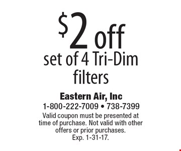 $2 off set of 4 Tri-Dim filters. Valid coupon must be presented at time of purchase. Not valid with other offers or prior purchases. Exp. 1-31-17.
