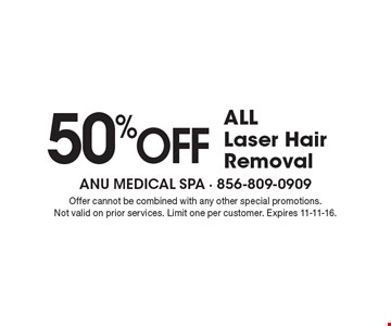50% OFF ALL Laser Hair Removal. Offer cannot be combined with any other special promotions. Not valid on prior services. Limit one per customer. Expires 11-11-16.