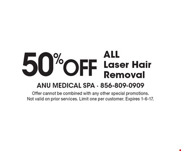 50% Off all Laser Hair Removal. Offer cannot be combined with any other special promotions. Not valid on prior services. Limit one per customer. Expires 1-6-17.