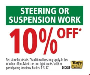 10% off steering or suspension work