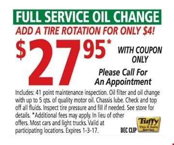 $27.95 full service oil change