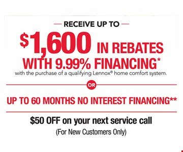 Up to $1,600 in rebates OR up to 60 months, no interest financing.