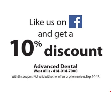 Like us on facebook and get a 10% discount. With this coupon. Not valid with other offers or prior services. Exp. 1-1-17.