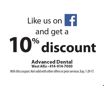 Like us on Facebook and get a 10% discount. With this coupon. Not valid with other offers or prior services. Exp. 1-29-17.