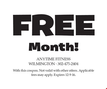 Free Month! With this coupon. Not valid with other offers. Applicable fees may apply. Expires 12-9-16.