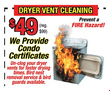 Dryer vent cleaning $49