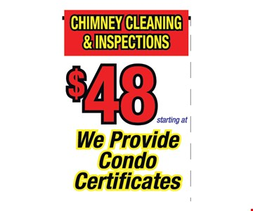 Chimney cleaning and inspection $48