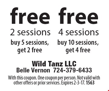 Free 4 sessions buy 10 sessions, get 4 free. free 2 sessions buy 5 sessions, get 2 free. With this coupon. One coupon per person. Not valid with other offers or prior services. Expires 2-3-17. 1563