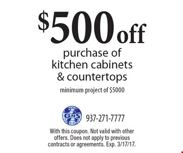 $500 off purchase of kitchen cabinets & countertops minimum project of $5000. With this coupon. Not valid with other offers. Does not apply to previous contracts or agreements. Exp. 3/17/17.