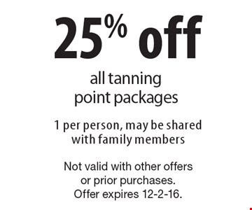 25% off all tanning point packages. 1 per person, may be shared with family members. Not valid with other offers or prior purchases. Offer expires 12-2-16.