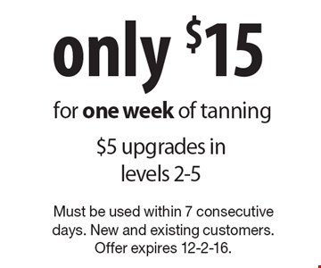 Only $15 for one week of tanning. $5 upgrades in levels 2-5. Must be used within 7 consecutive days. New and existing customers. Offer expires 12-2-16.