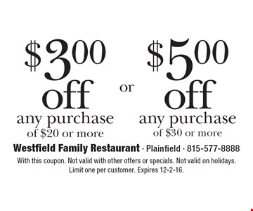 $3.00 off any purchase of $20 or more. $5.00 off any purchase of $30 or more. With this coupon. Not valid with other offers or specials. Not valid on holidays. Limit one per customer. Expires 12-2-16.