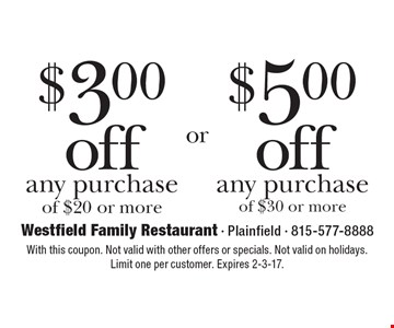 $3.00 off any purchase of $20 or more OR $5.00 off any purchase of $30 or more. With this coupon. Not valid with other offers or specials. Not valid on holidays. Limit one per customer. Expires 2-3-17.