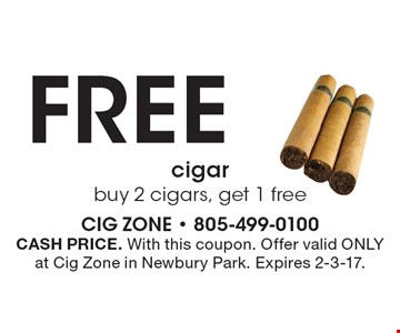 FREE cigar - buy 2 cigars, get 1 free. CASH PRICE. With this coupon. Offer valid ONLY at Cig Zone in Newbury Park. Expires 2-3-17.