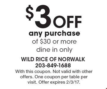$3 Off any purchase of $30 or more-dine in only. With this coupon. Not valid with other offers. One coupon per table per visit. Offer expires 2/3/17.