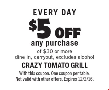 EVERY DAY $5 off any purchase of $30 or more dine in, carryout, excludes alcohol. With this coupon. One coupon per table. Not valid with other offers. Expires 12/2/16.