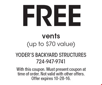 Free vents (up to $70 value). With this coupon. Must present coupon at time of order. Not valid with other offers. Offer expires 10-28-16.