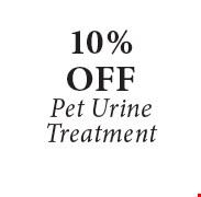 10% OFF Pet UrineTreatment.