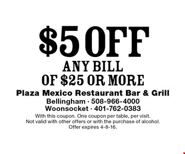 $5 off ANY BILL OF $25 or more. With this coupon. One coupon per table, per visit. Not valid with other offers or with the purchase of alcohol. Offer expires 4-8-16.
