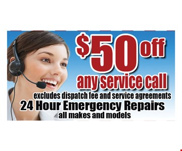 $50 off any service call. Expires 11-11-16.