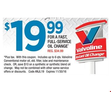 Oil change for $19.99.