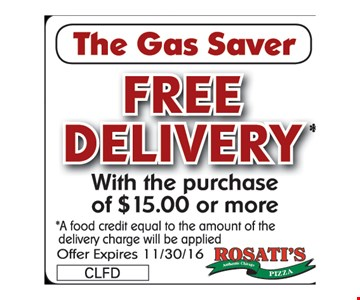 Free Delivery with purchase of $15 or more